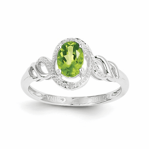 10k White Gold Peridot Diamond Ring 10xb317