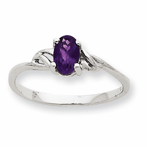 10k White Gold Polished Geniune Amethyst Birthstone Ring 10xbr143
