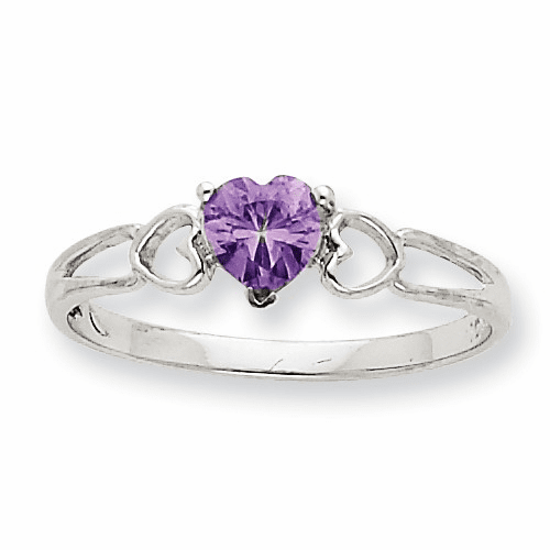 10k White Gold Polished Geniune Amethyst Birthstone Ring 10xbr167