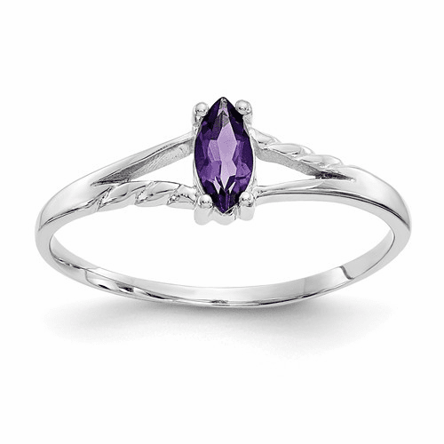 10k White Gold Polished Geniune Amethyst Birthstone Ring 10xbr191