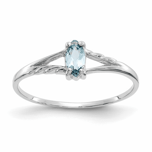 10k White Gold Polished Geniune Aquamarine Birthstone Ring 10xbr192