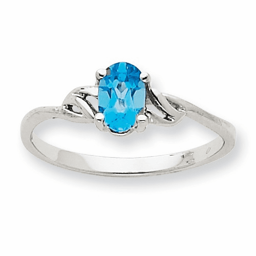 10k White Gold Polished Geniune Blue Topaz Birthstone Ring 10xbr153