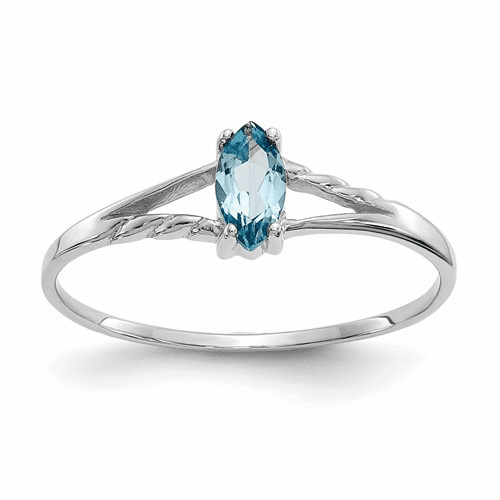 10k White Gold Polished Geniune Blue Topaz Birthstone Ring 10xbr201