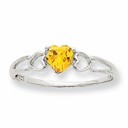 10k White Gold Polished Geniune Citrine Birthstone Ring 10xbr176