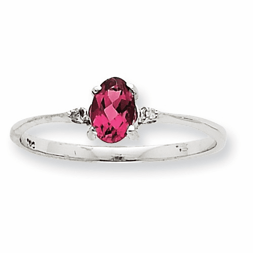 10k White Gold Polished Geniune Dia/pink Tourmaline Birthstone Ring