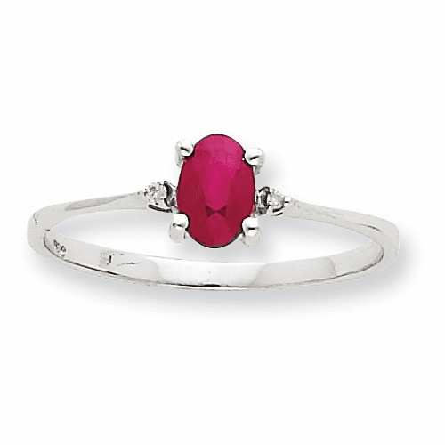 10k White Gold Polished Geniune Diamond & Ruby Birthstone Ring