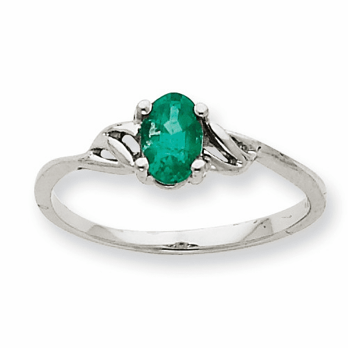 10k White Gold Polished Geniune Emerald Birthstone Ring 10xbr146