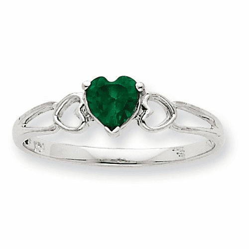 10k White Gold Polished Geniune Emerald Birthstone Ring 10xbr170