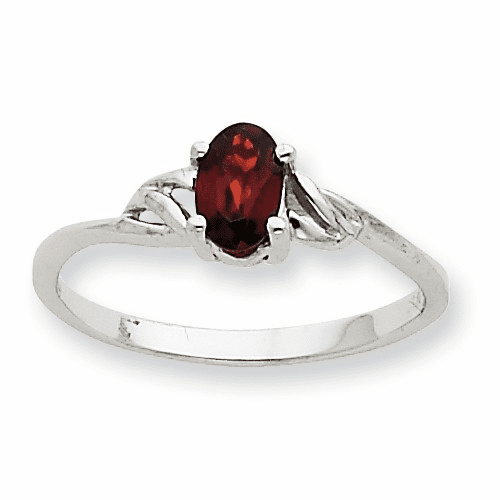 10k White Gold Polished Geniune Garnet Birthstone Ring 10xbr142