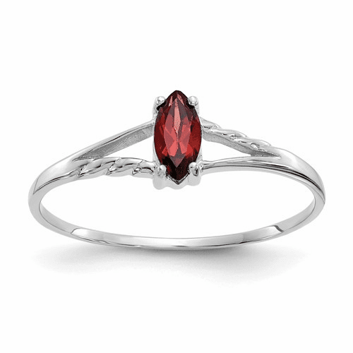 10k White Gold Polished Geniune Garnet Birthstone Ring 10xbr190