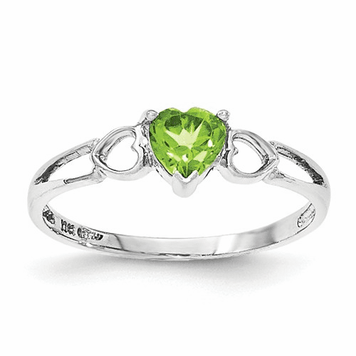 10k White Gold Polished Geniune Peridot Birthstone Ring 10xbr173