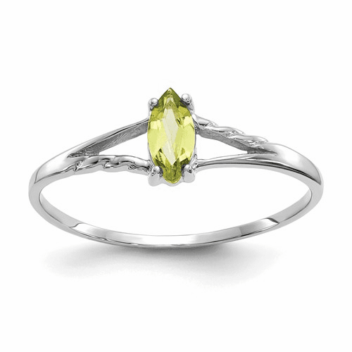 10k White Gold Polished Geniune Peridot Birthstone Ring 10xbr197
