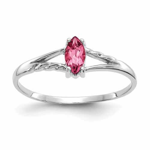 10k White Gold Polished Geniune Pink Tourmaline Birthstone Ring
