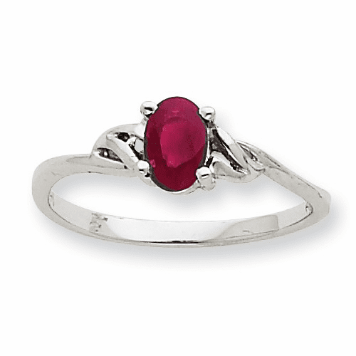 10k White Gold Polished Geniune Ruby Birthstone Ring 10xbr148