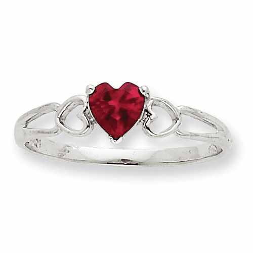 10k White Gold Polished Geniune Ruby Birthstone Ring 10xbr172