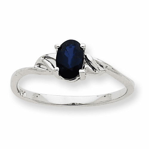 10k White Gold Polished Geniune Sapphire Birthstone Ring 10xbr150