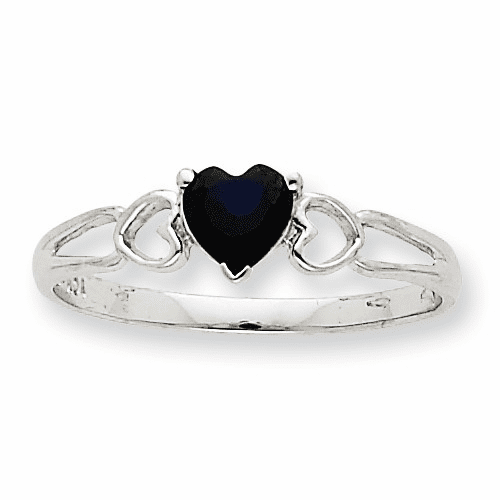 10k White Gold Polished Geniune Sapphire Birthstone Ring 10xbr174