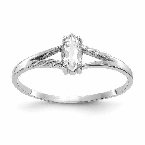 10k White Gold Polished Geniune White Topaz Birthstone Ring 10xbr193