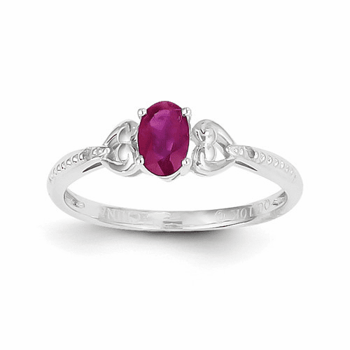 10k White Gold Ruby Diamond Ring 10xb292