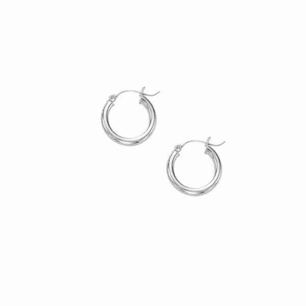 10K White Gold Shiny 3X15mm Hoop Earring with Hinged Clasp