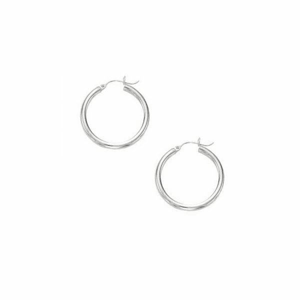 10K White Gold Shiny 3X25mm Hoop Earring with Hinged Clasp
