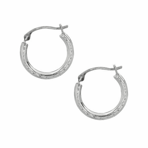 10K White Gold Shiny Diamond Cut Small Round Hoop Earring