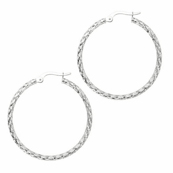 10K White Gold Shiny Fashion Sparkle Earring Hoops with Hinged Clasp