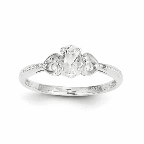 10k White Gold White Topaz Diamond Ring 10xb289