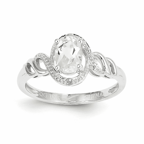 10k White Gold White Topaz Diamond Ring 10xb313