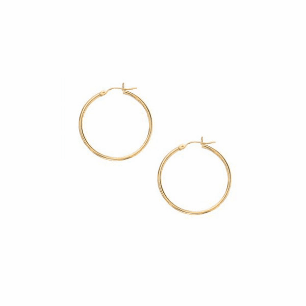 10K Yellow Gold 1.0X25mm Lt.Tube Hoop with Hinged Clasp