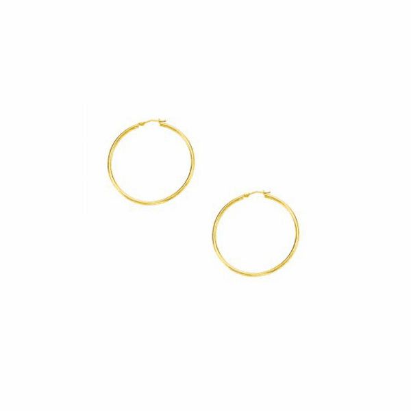 10K Yellow Gold 1.0X30mm Lt.Tube Hoop with Hinged Clasp