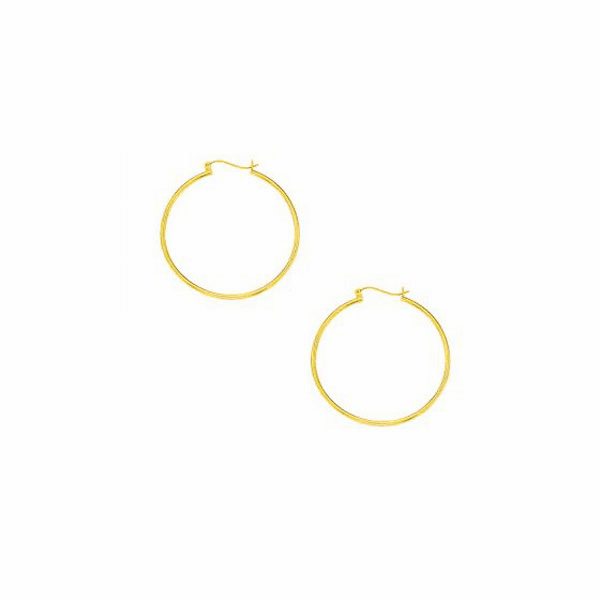 10K Yellow Gold 1.0X40mm Lt.Tube Hoop with Hinged Clasp