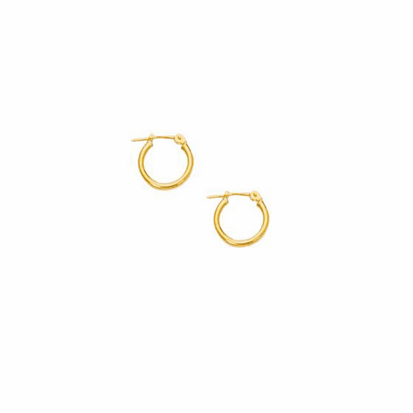 10K Yellow Gold 2.0mm Shiny Small Round Hoop Type Earring