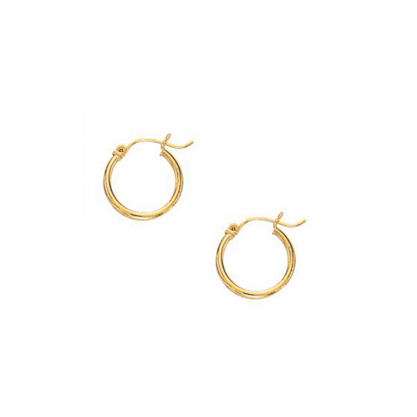 10K Yellow Gold 2.0X15mm Shiny Round Hoop Earring with Hinged Clasp