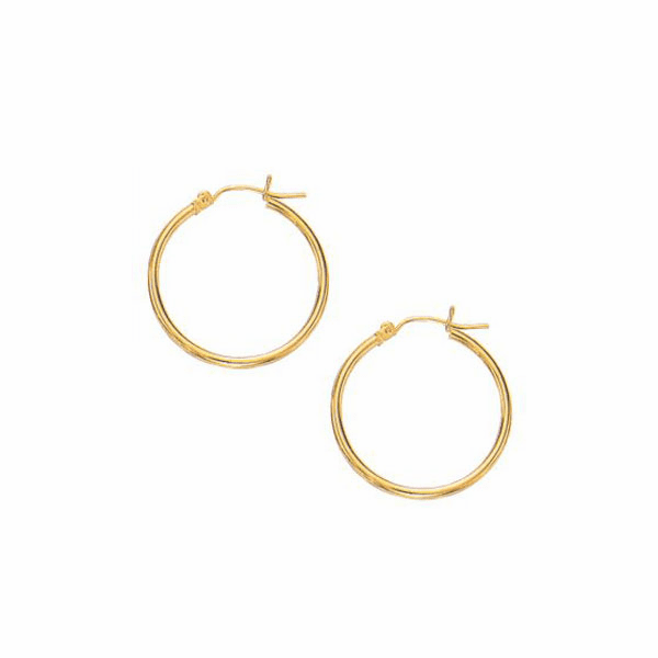 10K Yellow Gold 2.0X25mm Shiny Round Hoop Earring with Hinged Clasp