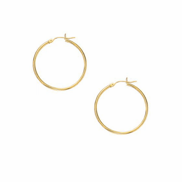 10K Yellow Gold 2.0X30mm Shiny Round Hoop Earring with Hinged Clasp