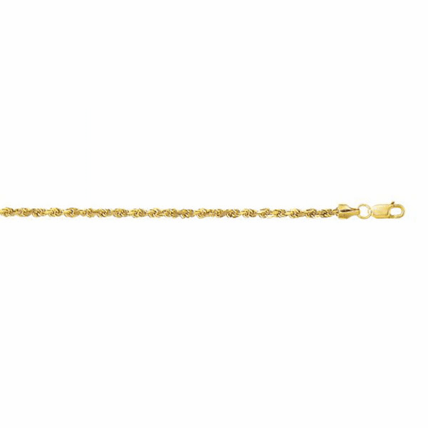 10K Yellow Gold 2.5mm Diamond Cut Hollow Sparkle Rope Chain Bracelet