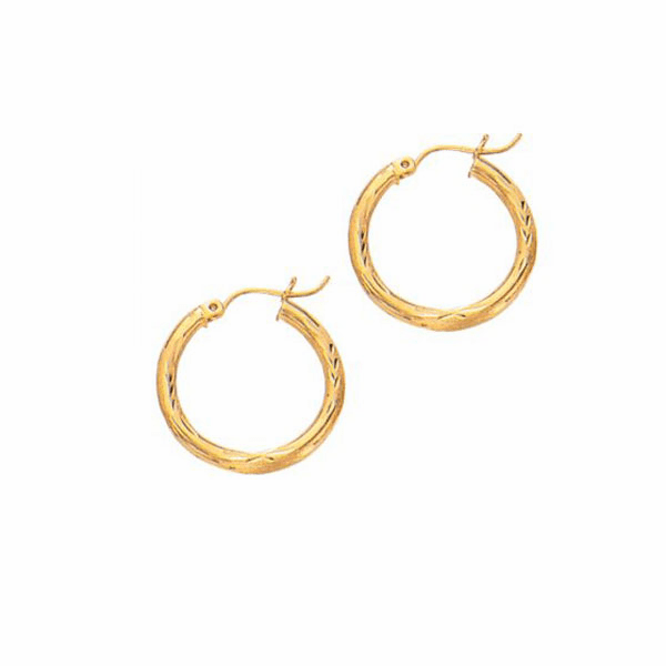 10K Yellow Gold 2X15mm Diamond Cut Round Tube Hoop Earring with