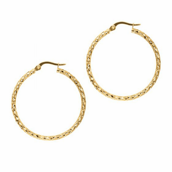 10K Yellow Gold Shiny Fashion Sparkle Earring Hoops with Hinged Clasp
