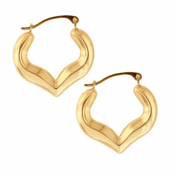 10K Yellow Gold Shiny Heart Shape Fancy Hoop Earring with Hinged Clasp