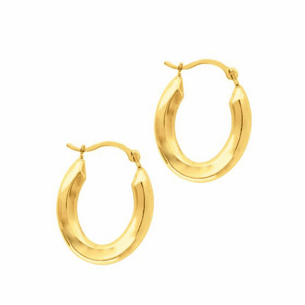 10K Yellow Gold Shiny Hoop Earring with Hinged Clasp