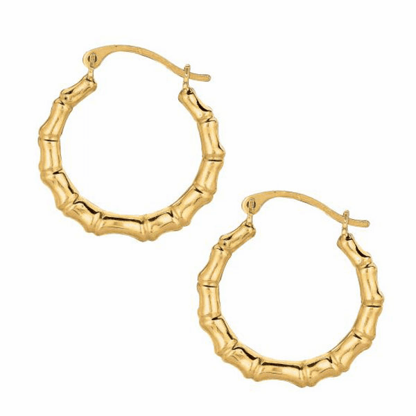 10K Yellow Gold Shiny Round Fancy Small Hoop Earring with Hinged Clasp