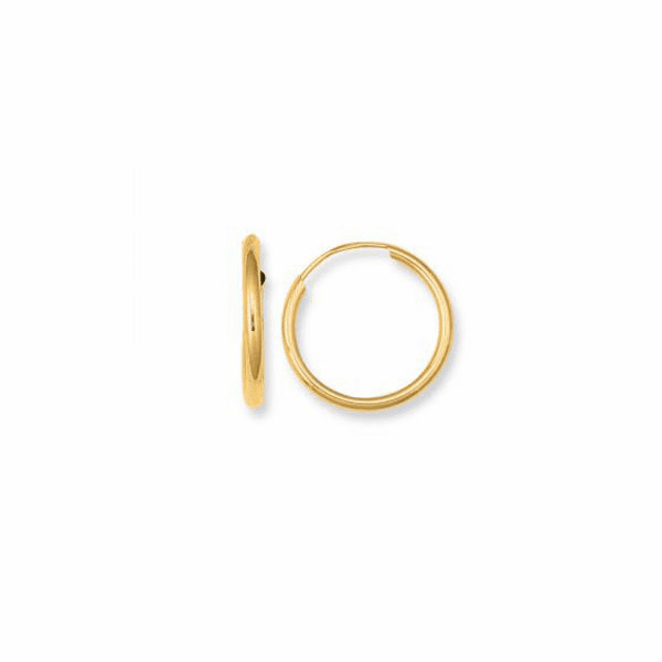 10K Yellow Gold Shiny Small Endless Round Tube Hoop Earring