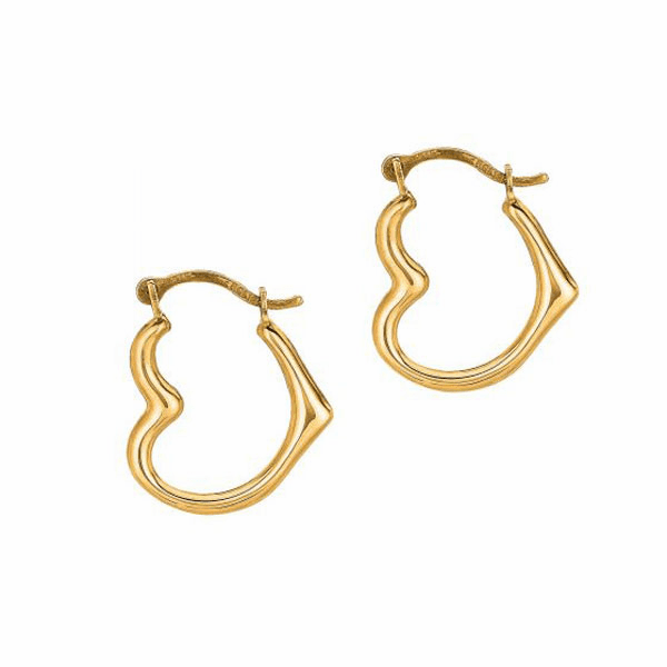 10K Yellow Gold Shiny Small Open Heart Hoop Earring with Hinged Clasp