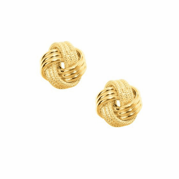 10K Yellow Gold Shiny Textured 3 Row Small Love Knot Earring