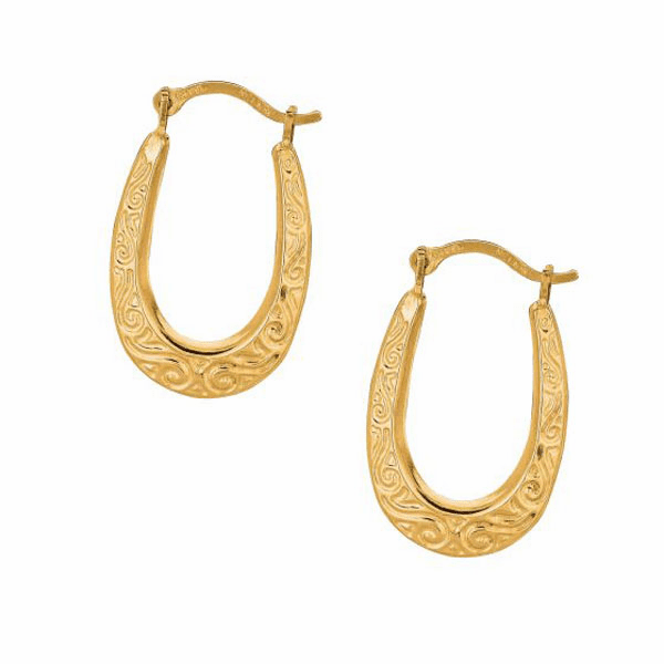 10K Yellow Gold Shiny Textured Graduated Small Oval Hoop Earring