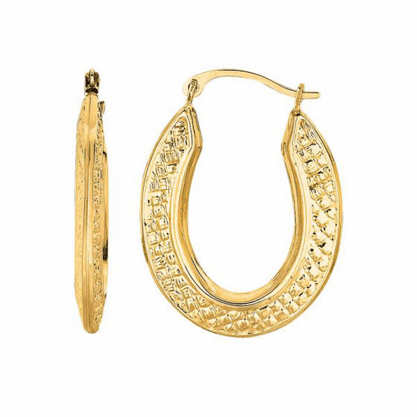 10K Yellow Gold Shiny Textured Open Dome Oval Hoop Type Fancy Earring