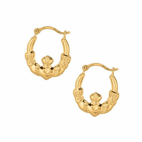10K Yellow Gold Shiny Textured Round Claddagh Small Hoop Earring