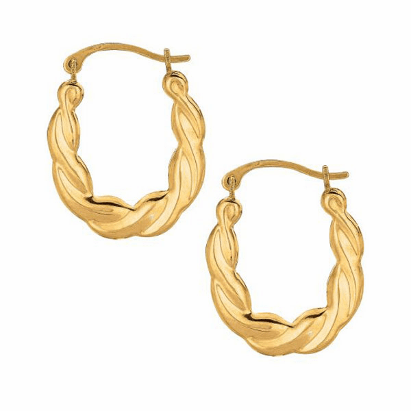10K Yellow Gold Shiny Twisted Small Oval Hoop Earring