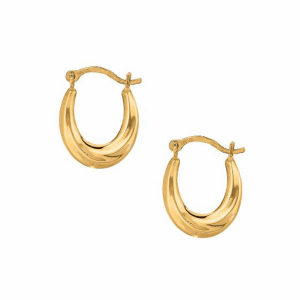 10K Yellow Gold Small Oval Fancy Hoop Earring with Saddle Back Clasp